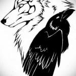эскиз тату волк и ворон