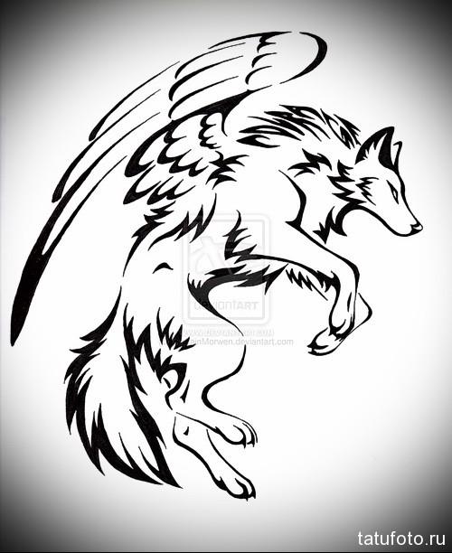 эскиз тату волк с крыльями в прыжке