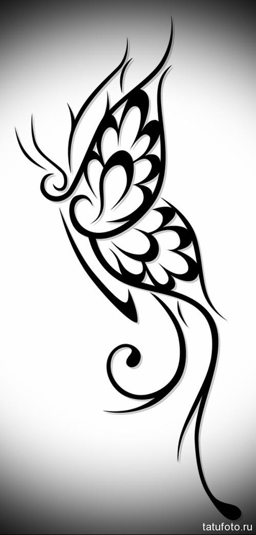 Эскиз татуировки с бабочкой 10