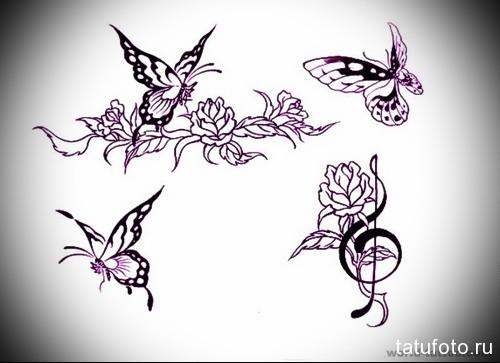 Эскиз татуировки с бабочкой 12