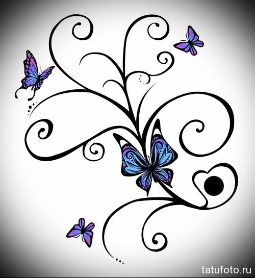 Эскиз татуировки с бабочкой 13