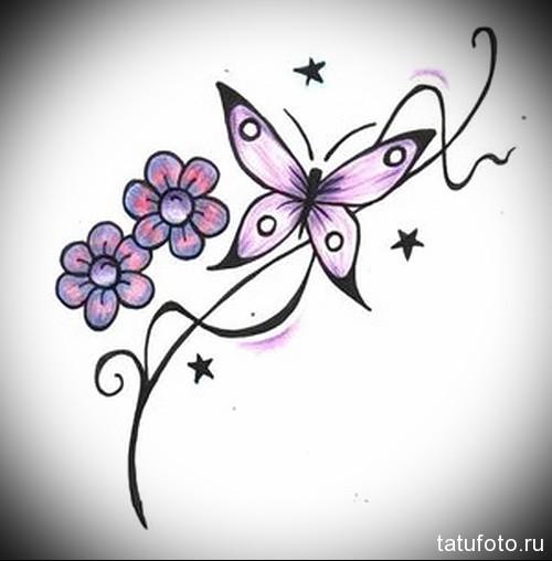 Эскиз татуировки с бабочкой 14