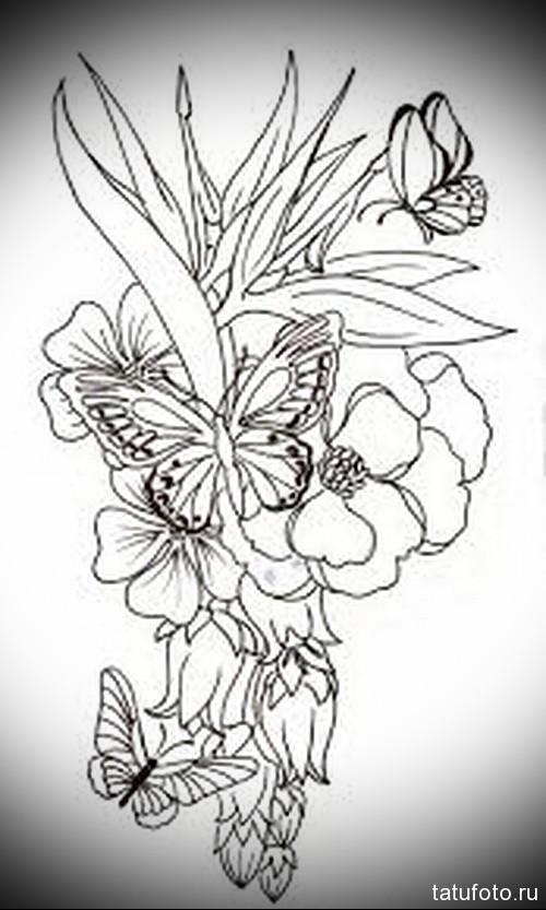 Эскиз татуировки с бабочкой 18