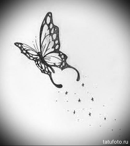 Эскиз татуировки с бабочкой 23