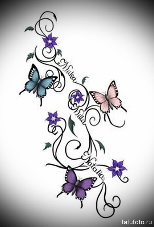 Эскиз татуировки с бабочкой 25