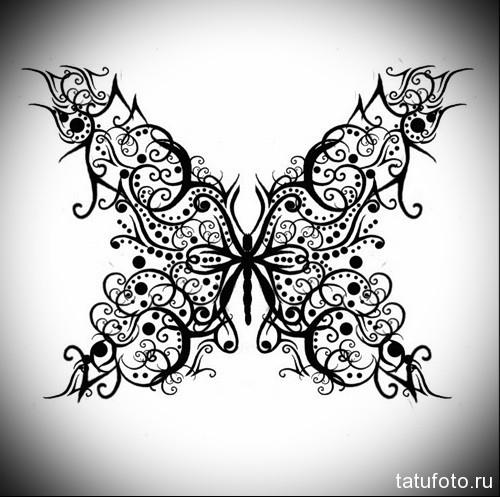 Эскиз татуировки с бабочкой 6