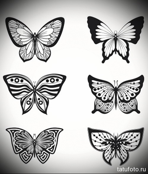 Эскиз татуировки с бабочкой 8