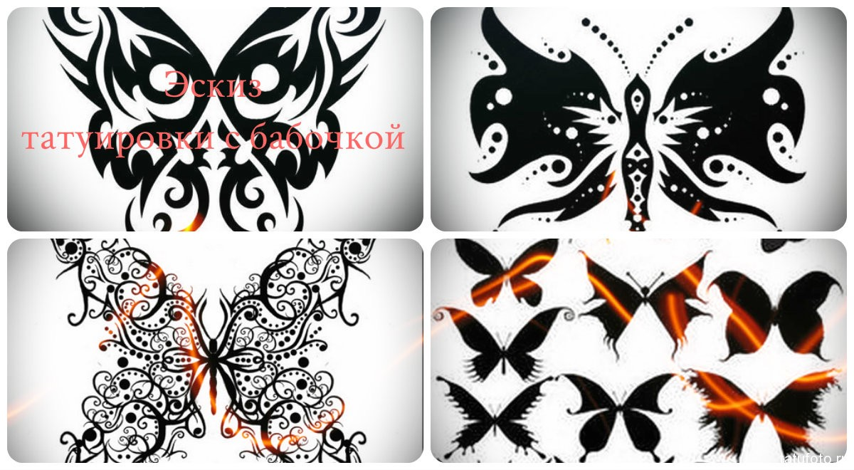 Эскиз татуировки с бабочкой