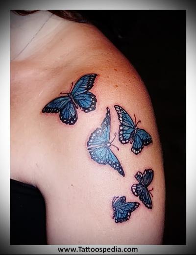 бабочка на плече тату фото
