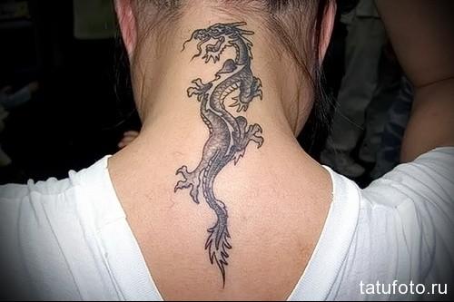 дракон на шее тату 4