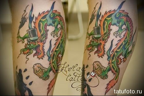 дракон тату на ноге 3