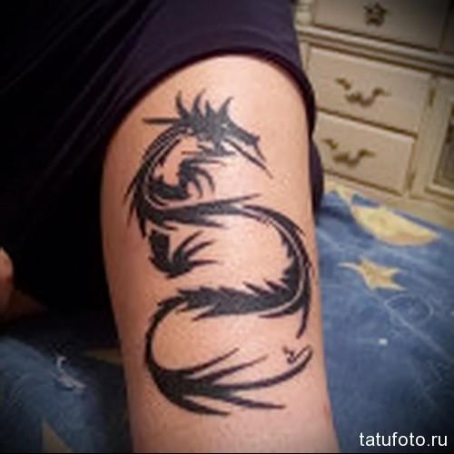 дракон тату на ноге 4