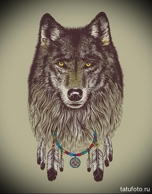ловец снов тату с волком 3