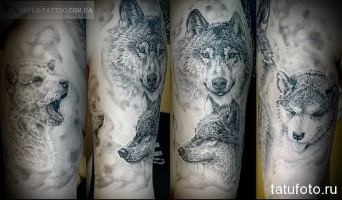 тату волк и волчица 2