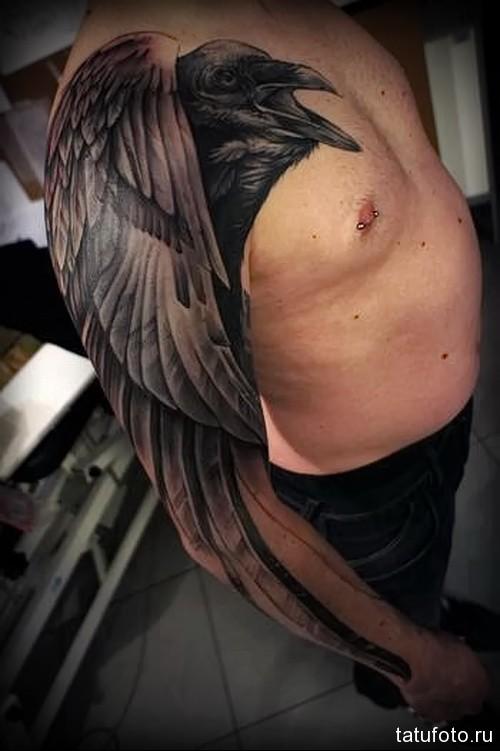 тату ворон с длинными перьями на всю руку (рукавом)