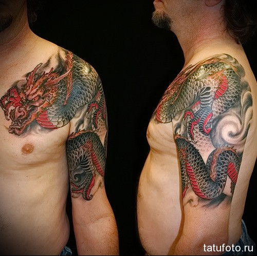 тату дракон цветной 2