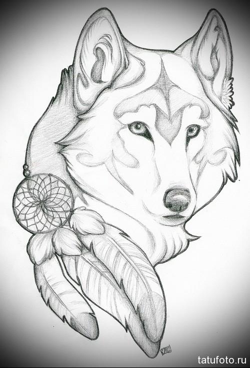 эскиз татуировки с белым волком и ловцом снов с перьями
