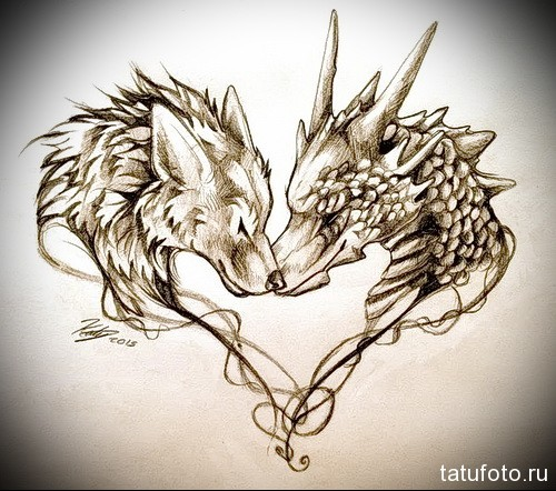 эскиз тату волк и дракон