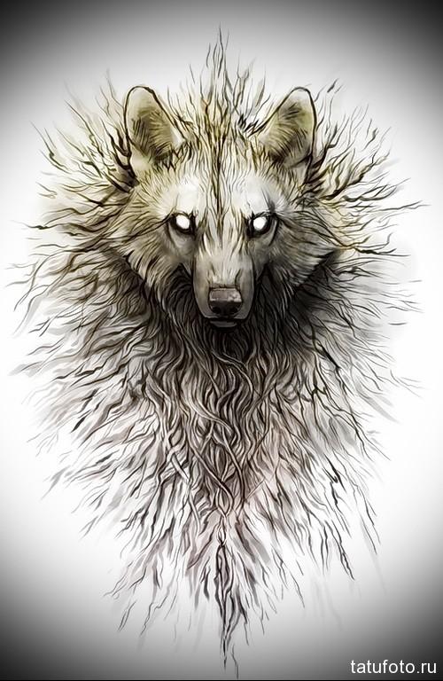 эскиз тату волк с ледяными глазами