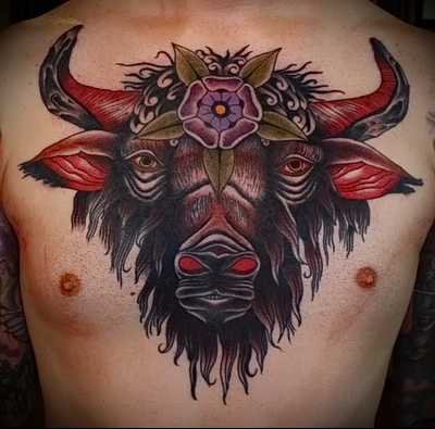 tattoo with bull head