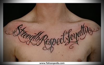 lettering on the chest tattoo