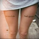 tattoo lettering on the leg
