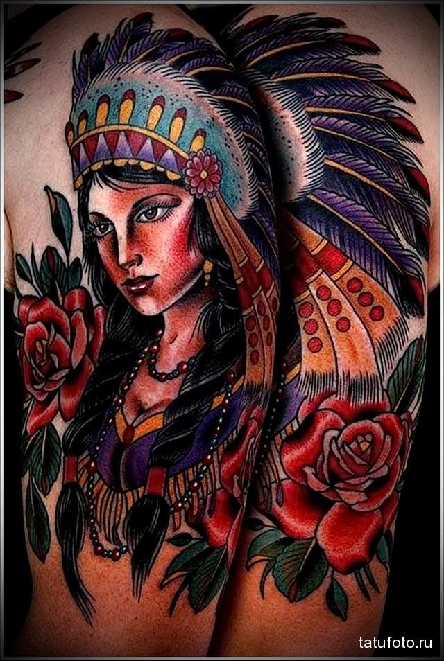 татуировка девушка индеец в стиле олд скул
