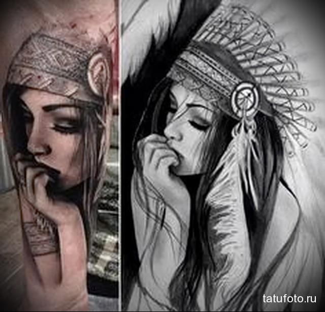 татуировка девушка индеец кусает ногти