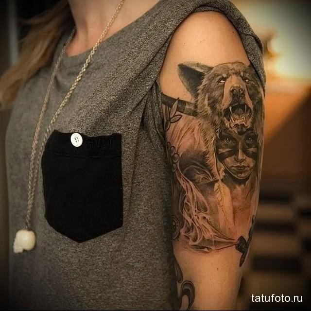 татуировка девушка индеец - реалистическая тату на женском плече
