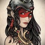 татуировка девушка индеец со шкурой волка