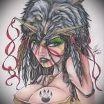 татуировка девушка индеец с большой грудью