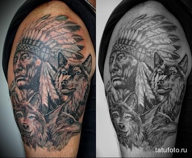 тату индеец с волком на плече