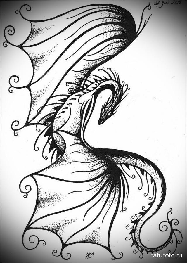 эскиз дракон на бедре тату 3