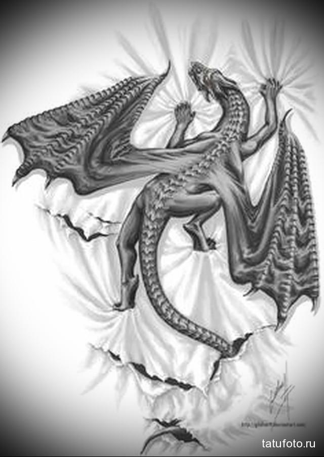 эскиз дракон на бедре тату 8