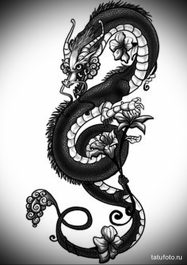 Тату драконы и эскизы на бедре