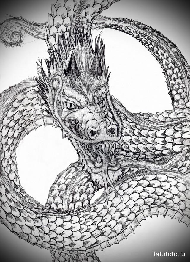 эскиз мужские тату драконы 3