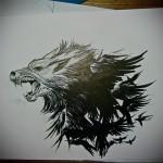 эскиз тату волк и ворон 2