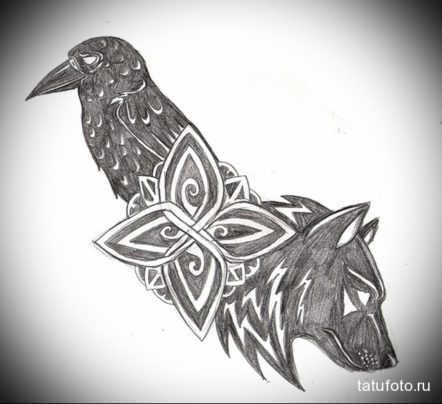 Значение татуировки ворон. Символика тату 77