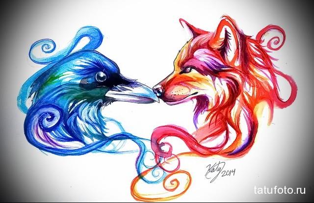 эскиз тату волк и ворон 4