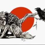 эскиз тату волк и ворон 5