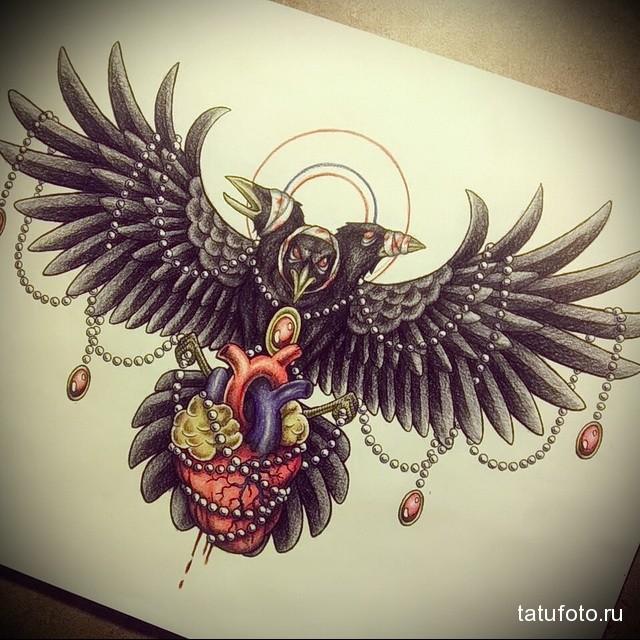 тату ворона на грудине мужские
