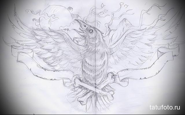 эскиз тату ворон на плече 1