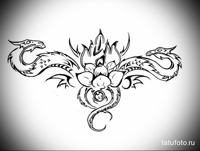 эскиз тату дракон на лопатке 7