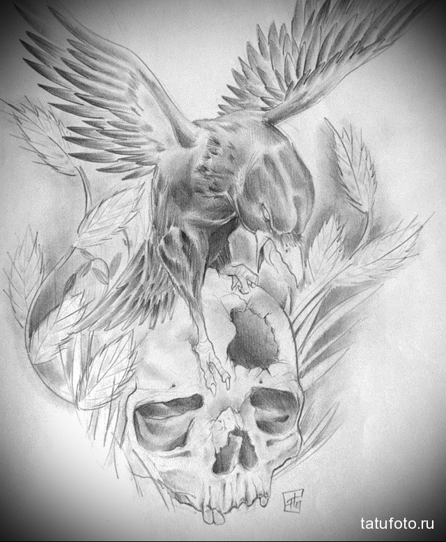 эскиз тату череп и ворон 3