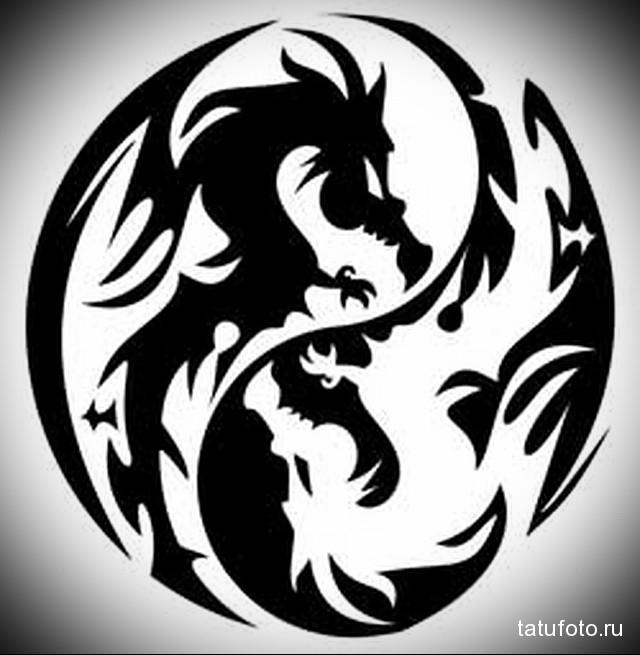 эскиз тату черный дракон 2