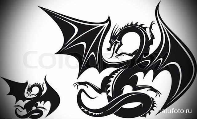 эскиз тату черный дракон 7