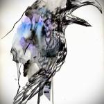 эскиз цветной ворон тату 10