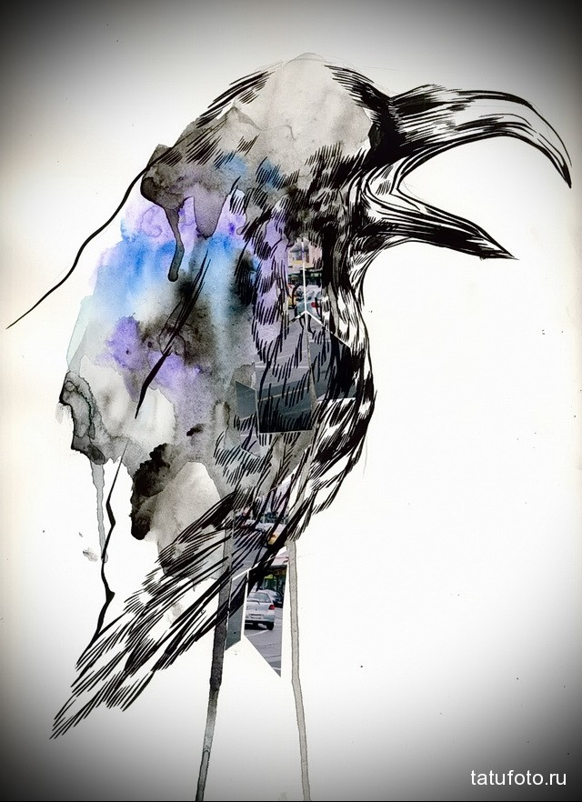 2 watercolor ravens