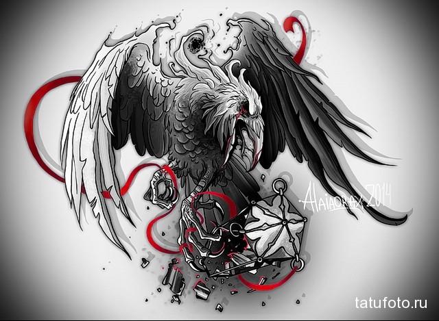 эскиз цветной ворон тату 12