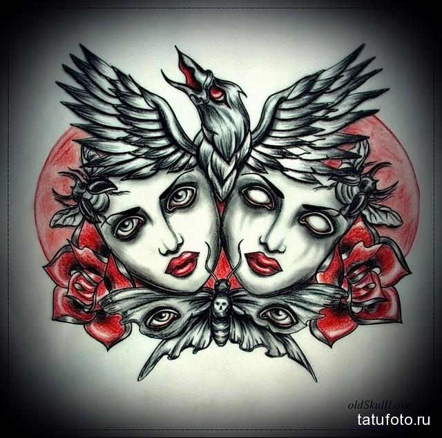 эскиз цветной ворон тату 14